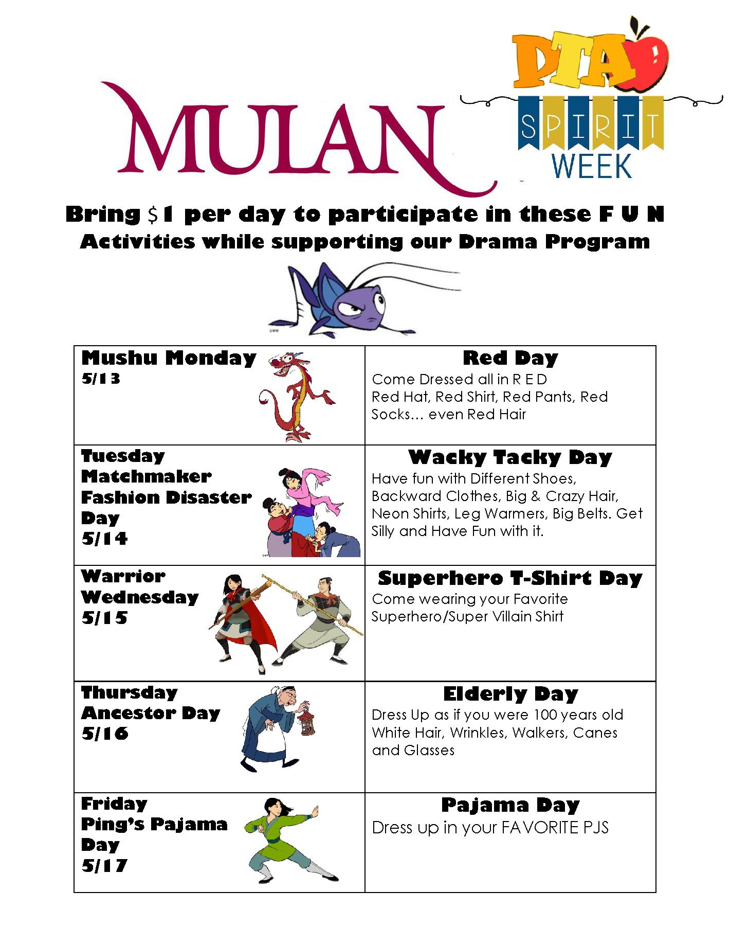 Mulan PTA Spirit Week