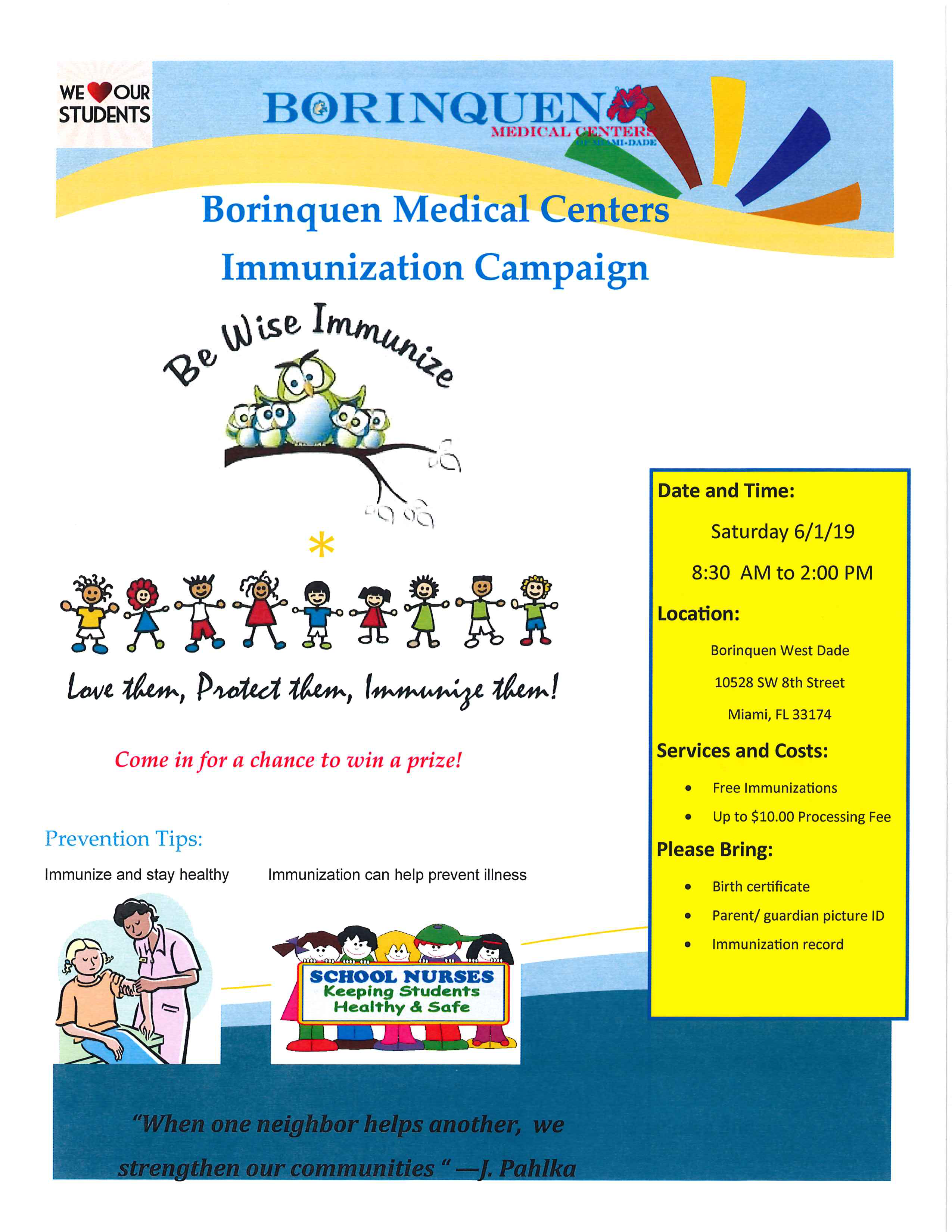 Free Immunizations @ Borinquen West Dade | Miami | Florida | United States