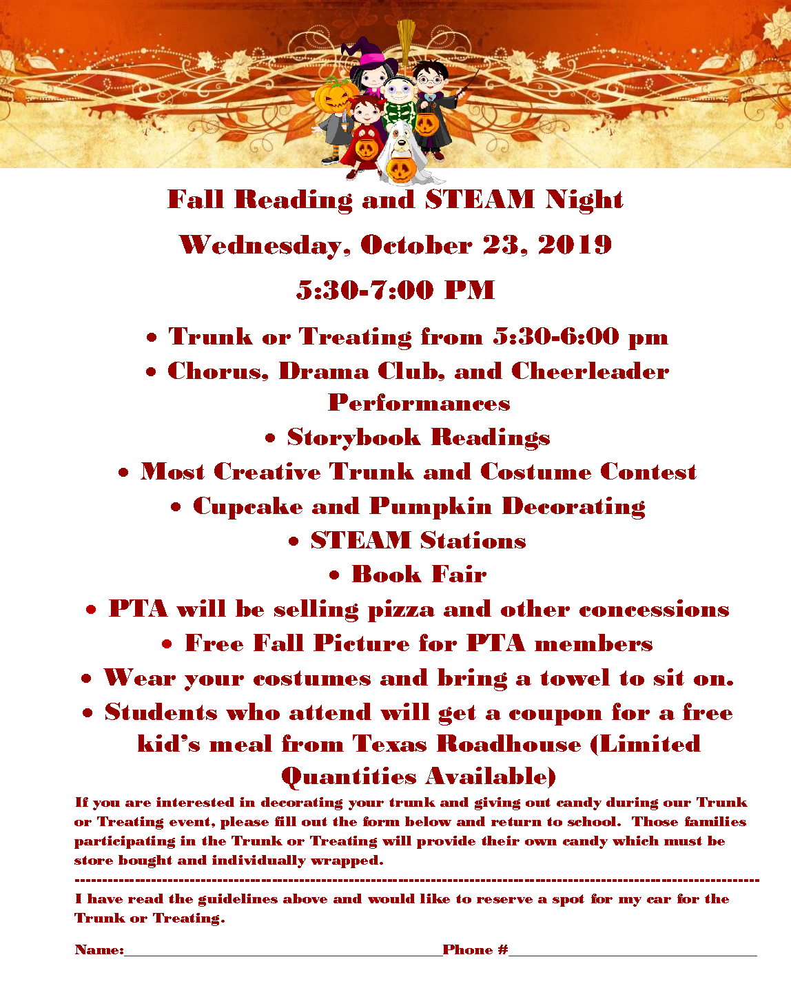 Fall Reading and STEAM Night